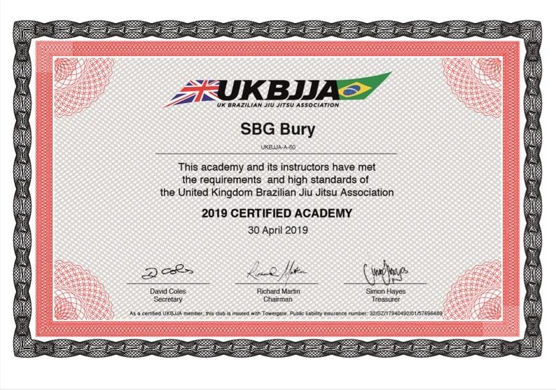 SBG UKBJJA Certificate